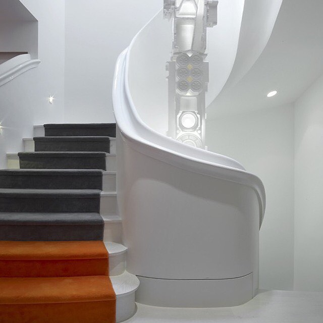 Stunning staircases are our thing.. Designer: Ghislaine Vinas Interior Design. Photography: Eric Laignel  #StairRunners #Colorblocking #CustomDesign #StaircaseCarpeting #Design  #AronsonsFloorCovering
