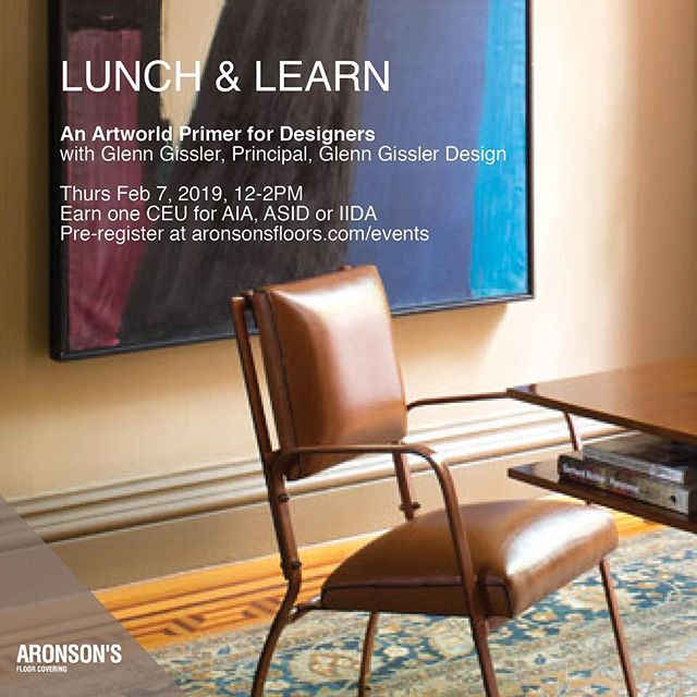 We are excited to present our next Lunch and Learn on art and design, led by award-winning #interiordesigner, trained architect and art enthusiast: @glenngissler. Offering insights to both the uninitiated and the initiated, Glenn will show designers how to integrate fine art into projects, educate oneself about art, locate works, sell art to clients and make decisions on lighting and framing. Eligible for 1 CEU credit through AIA, ASID and IIDA. #Linkinbio to pre-register today! ⠀